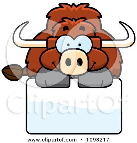 Clipart Happy Yak Over A Sign - Royalty Free Vector Illustration by Cory Thoman