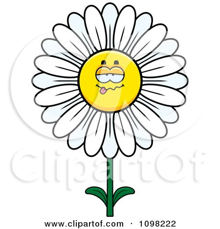 Clipart Sick White Daisy Flower Character - Royalty Free Vector Illustration by Cory Thoman