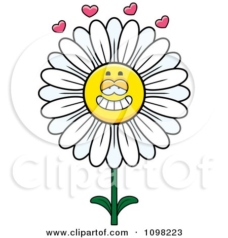Clipart White Daisy Flower Character In Love - Royalty Free Vector Illustration by Cory Thoman