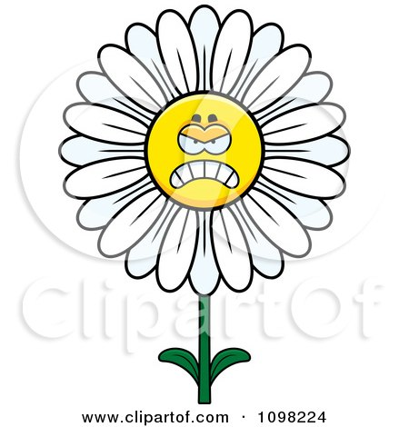 Clipart Angry White Daisy Flower Character - Royalty Free Vector Illustration by Cory Thoman