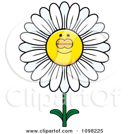 Clipart Sleeping White Daisy Flower Character - Royalty Free Vector Illustration by Cory Thoman