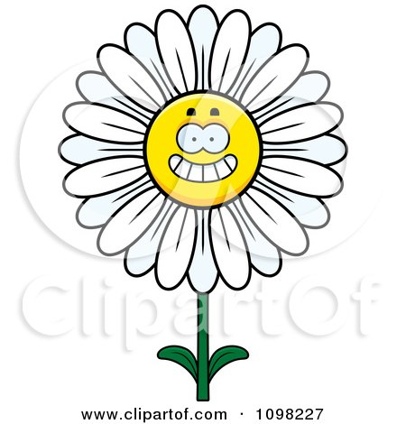 Clipart Happy Smiling White Daisy Flower Character - Royalty Free Vector Illustration by Cory Thoman
