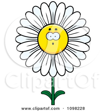 Clipart Surprised White Daisy Flower Character - Royalty Free Vector Illustration by Cory Thoman