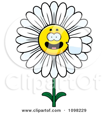 Clipart Talking White Daisy Flower Character - Royalty Free Vector Illustration by Cory Thoman