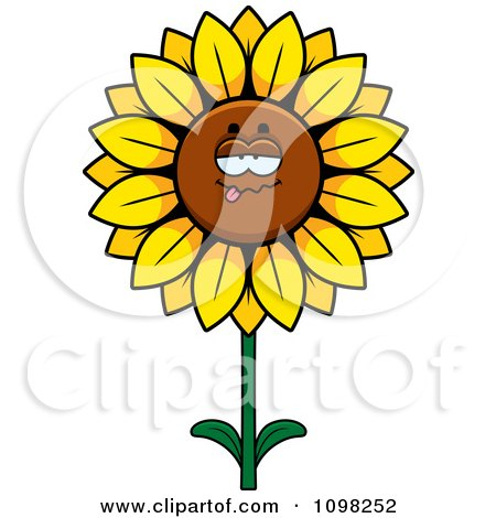 Clipart Drunk Sunflower Character - Royalty Free Vector Illustration by Cory Thoman
