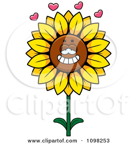 Clipart Sunflower Character In Love - Royalty Free Vector Illustration by Cory Thoman
