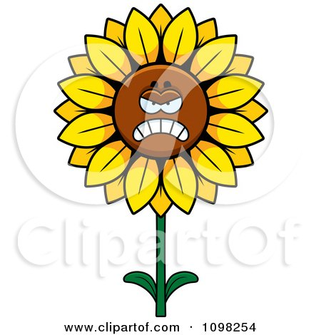Clipart Mad Sunflower Character - Royalty Free Vector Illustration by Cory Thoman