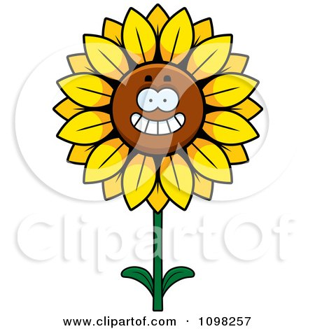 Clipart Happy Smiling Sunflower Character - Royalty Free Vector Illustration by Cory Thoman