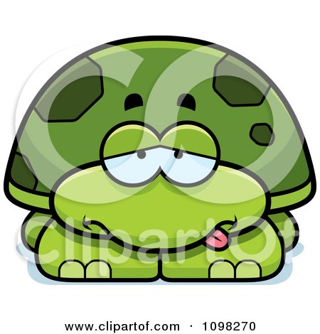 Clipart Sick Green Tortoise Turtle - Royalty Free Vector Illustration by Cory Thoman
