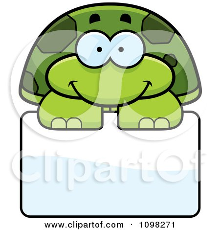 Clipart Happy Green Tortoise Turtle Over A Sign - Royalty Free Vector Illustration by Cory Thoman