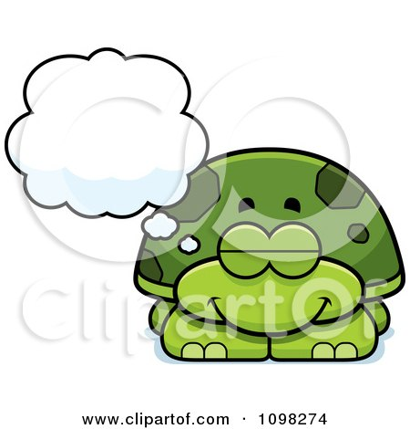 Clipart Dreaming Green Tortoise Turtle - Royalty Free Vector Illustration by Cory Thoman