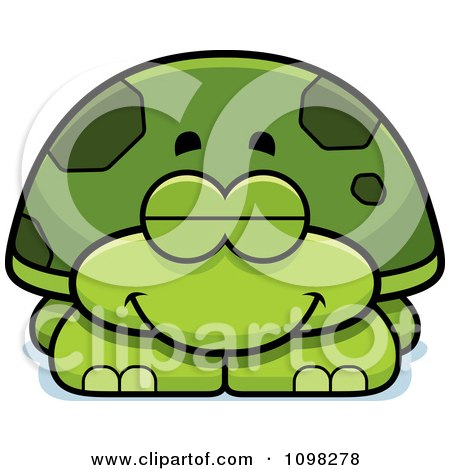 Clipart Sleeping Green Tortoise Turtle - Royalty Free Vector Illustration by Cory Thoman