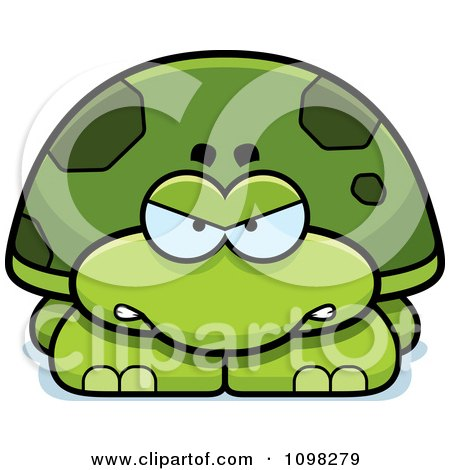 Clipart Angry Green Tortoise Turtle - Royalty Free Vector Illustration by Cory Thoman