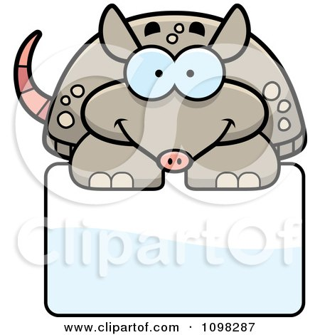 Clipart Happy Armadillo Over A Sign - Royalty Free Vector Illustration by Cory Thoman
