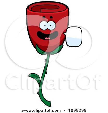 Clipart Talking Red Rose Flower Character - Royalty Free Vector Illustration by Cory Thoman