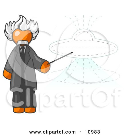 Orange Einstein Man Pointing a Stick at a Presentation of a Flying Saucer Clipart Illustration by Leo Blanchette