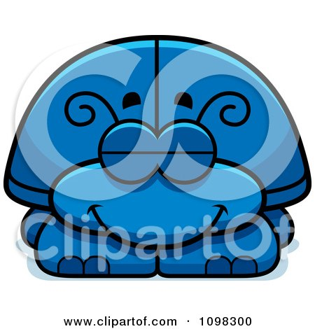 Clipart Sleeping Blue Beetle - Royalty Free Vector Illustration by Cory Thoman