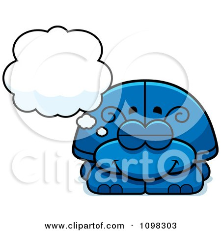 Clipart Dreaming Blue Beetle - Royalty Free Vector Illustration by Cory Thoman