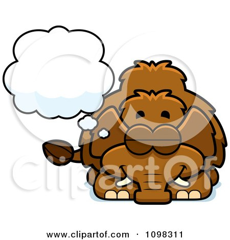Clipart Dreaming Wooly Mammoth - Royalty Free Vector Illustration by Cory Thoman