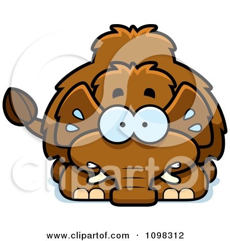 Clipart Scared Wooly Mammoth - Royalty Free Vector Illustration by Cory Thoman