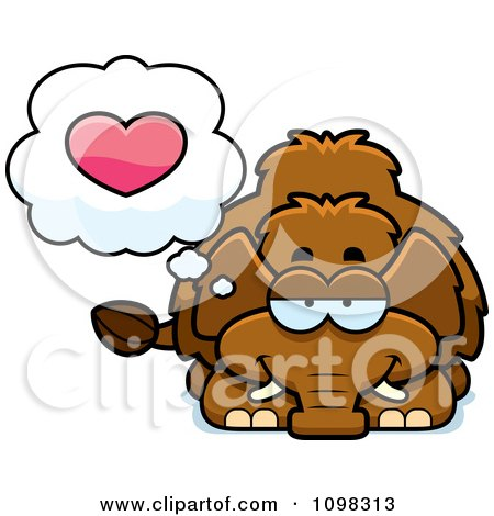 Clipart Wooly Mammoth In Love - Royalty Free Vector Illustration by Cory Thoman