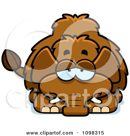 Clipart Depressed Wooly Mammoth - Royalty Free Vector Illustration by Cory Thoman