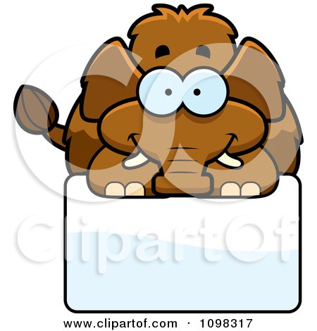 Clipart Happy Wooly Mammoth Over A Sign - Royalty Free Vector Illustration by Cory Thoman