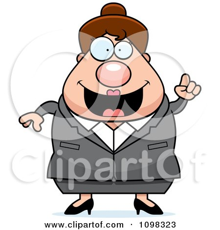 Clipart Chubby Caucasian Business Lady With An Idea - Royalty Free Vector Illustration by Cory Thoman