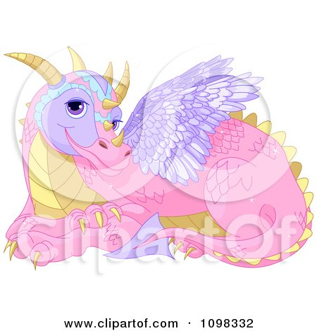 Clipart Cute Pink Fairy Tale Dragon With Purple Wings - Royalty Free Vector Illustration by Pushkin