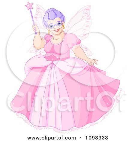 Clipart Happy Plump Fairy Godmother In A Pink Dress Holding Up Her Magic Wand - Royalty Free Vector Illustration by Pushkin