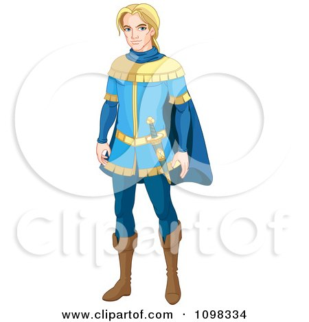 Clipart Handsome Blond Prince Charming In A Blue Uniform - Royalty Free Vector Illustration by Pushkin