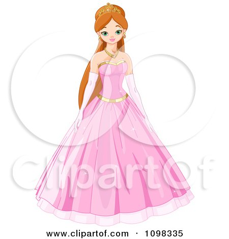 Clipart Beautiful Princess In A Pink Ball Gown - Royalty Free Vector Illustration by Pushkin