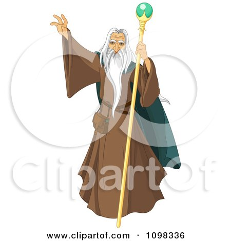 Clipart Male Wizard With A Long White Beard Holding Up His Hand - Royalty Free Vector Illustration by Pushkin