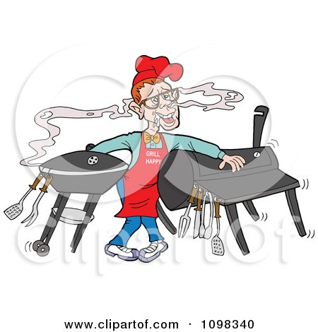 Clipart Nerdy Chef Drooling Over The Aroma From A Smoker And Barbeque - Royalty Free Vector Illustration by LaffToon