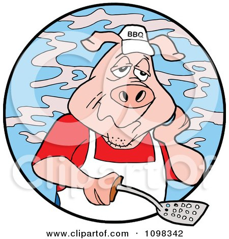 Clipart Tired Chef Bbq Pig Holding A Spatula And Surrounded By Smoke In A Blue Circle - Royalty Free Vector Illustration by LaffToon