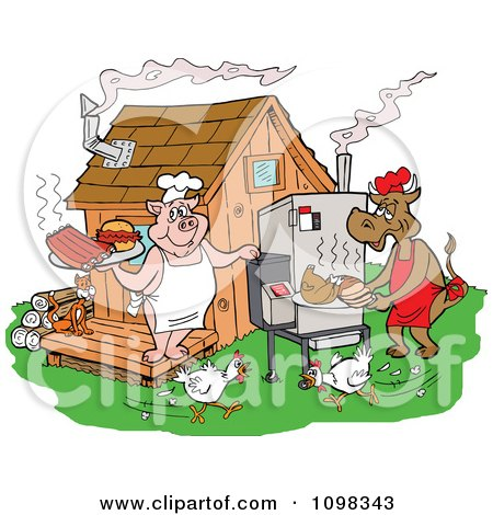 Clipart Chickens Running Around A Cow And Pig Using A Smoker And Cooking Meat At A Bbq Shack - Royalty Free Vector Illustration by LaffToon