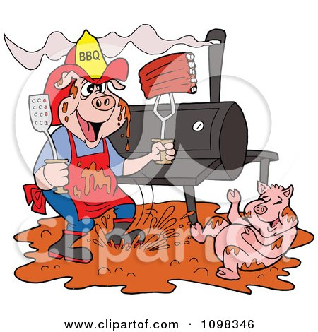 Clipart Bbq Pig Firefighter With Ribs A Smoker And Puddle Of Mud - Royalty Free Vector Illustration by LaffToon