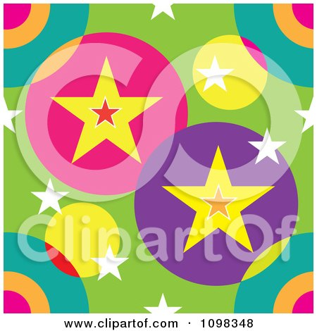 Clipart Seamless Colorful Stars And Circles Pattern Background - Royalty Free Vector Illustration by Maria Bell