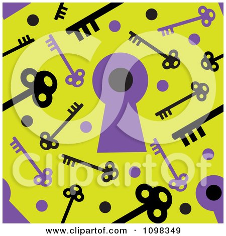 Clipart Seamless Purple And Yellow Skeleton Key And Keyhole Pattern Background - Royalty Free Vector Illustration by Maria Bell