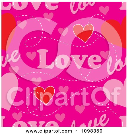 Clipart Seamless Pink Love Text And Hearts Pattern Background - Royalty Free Vector Illustration by Maria Bell