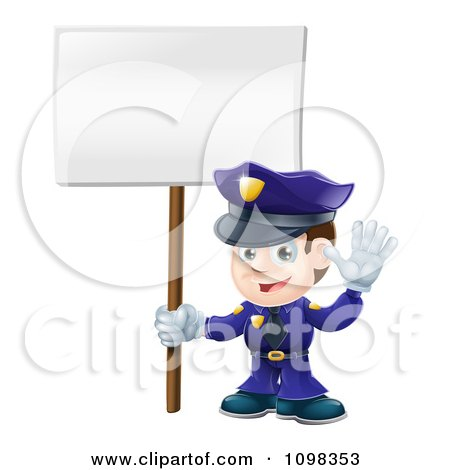 Clipart 3d Happy Police Officer Waving And Holding A Sign - Royalty Free Vector Illustration by AtStockIllustration