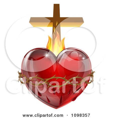 3d Sacred Heart With Flames Thorns And A Cross Posters, Art Prints