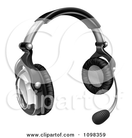 Clipart 3d Call Center Headset With Speaker Boom - Royalty Free Vector Illustration by AtStockIllustration