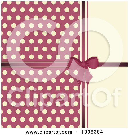 Clipart 3d Pink Bow With Polka Dots On Beige - Royalty Free Vector Illustration by elaineitalia