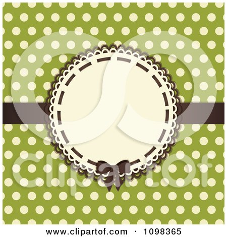 Clipart 3d Brown Bow On A Frame With Beige Polka Dots On Green - Royalty Free Vector Illustration by elaineitalia