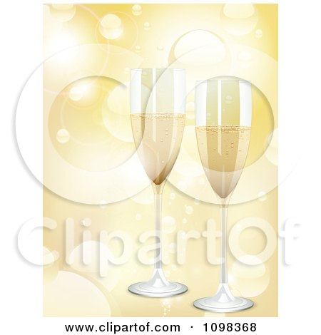 Clipart 3d Romantic Champagne Flutes Over Golden Light Flares - Royalty Free Vector Illustration by elaineitalia