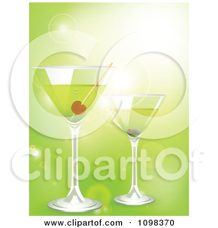 Clipart 3d Martini Cocktail Drinks Over Green With Flares - Royalty Free Vector Illustration by elaineitalia