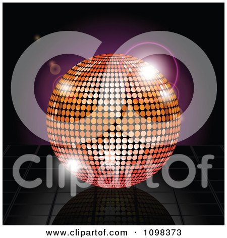 Clipart 3d Orange And Pink Disco Ball Over Reflective Tiles And Purple Flares - Royalty Free Vector Illustration by elaineitalia