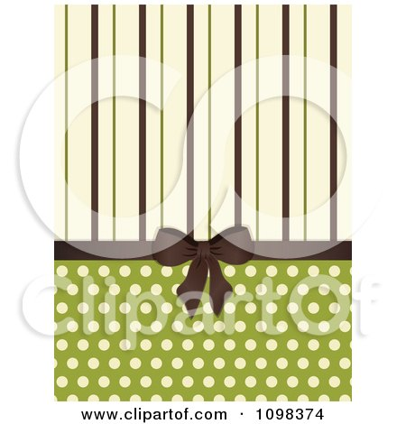 Clipart 3d Brown Bow With Brown Green And Beige Stripes And Polka Dots On Green - Royalty Free Vector Illustration by elaineitalia