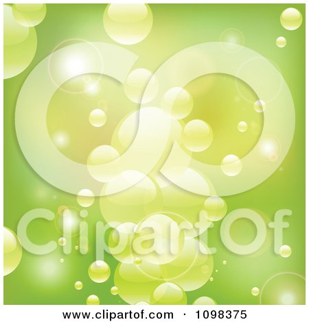 Clipart Background Of Reflective Green Bubbles In Water - Royalty Free Vector Illustration by elaineitalia